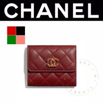 CHANEL BOY CHANEL Lambskin Street Style Plain Handmade Folding Wallets