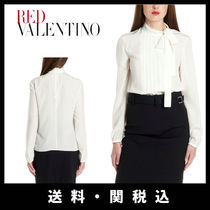 RED VALENTINO Silk Long Sleeves Plain Elegant Style Shirts & Blouses