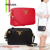 PRADA Saffiano 2WAY Plain Elegant Style Crossbody Shoulder Bags