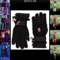 MONCLER Stripes Unisex Leather Logo Leather & Faux Leather Gloves