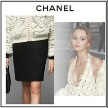 CHANEL Pencil Skirts Short Tweed Plain Elegant Style Skirts