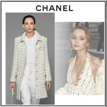 CHANEL Crew Neck Cable Knit Stripes Casual Style Wool Long Sleeves