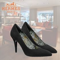 HERMES Plain Leather Elegant Style High Heel Pumps & Mules