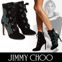 Jimmy Choo Flower Patterns Lace-up Velvet Pin Heels With Jewels