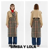 bimba & lola Other Check Patterns Casual Style Plain Long Trench Coats
