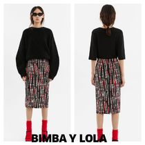 bimba & lola Stripes Casual Style Medium Midi Skirts