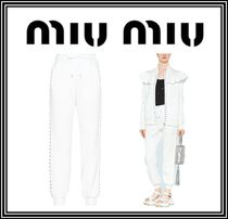 MiuMiu Casual Style Sweat Plain Long With Jewels Sweatpants