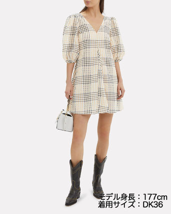 Short Tartan Other Plaid Patterns Casual Style A-line V-Neck