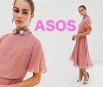 ASOS Flared Plain Medium Short Sleeves Party Style Dresses