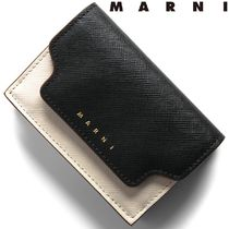 MARNI Saffiano Bi-color Plain Bold Folding Wallets