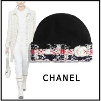 CHANEL 2019-20AW KNIT CAP black knit hats