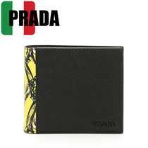 PRADA Tropical Patterns Street Style Leather Folding Wallets