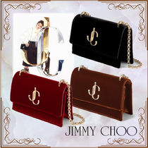 Jimmy Choo Blended Fabrics 3WAY Chain Plain Party Style Clutches