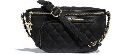 CHANEL Shoulder Bags Casual Style Calfskin Blended Fabrics Street Style 2WAY 2
