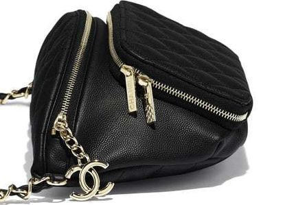 CHANEL Shoulder Bags Casual Style Calfskin Blended Fabrics Street Style 2WAY 5