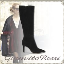 Gianvito Rossi Suede Plain Elegant Style High Heel Boots