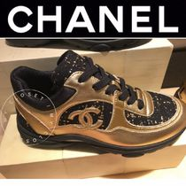 CHANEL SPORTS Unisex Tweed Blended Fabrics Street Style Sneakers