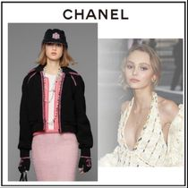 CHANEL Crew Neck Cable Knit Casual Style Cashmere Bi-color