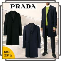 PRADA Wool Blended Fabrics Bi-color Plain Long Front Button