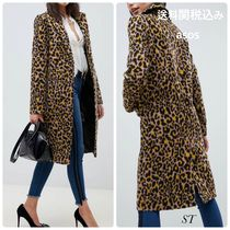 ASOS Stand Collar Coats Leopard Patterns Casual Style
