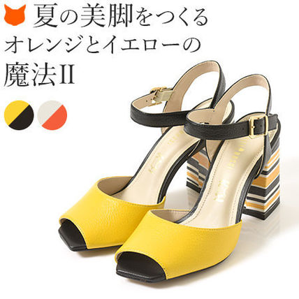 Stripes Open Toe Plain Leather Elegant Style Chunky Heels