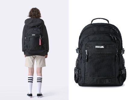 Unisex Street Style Bi-color Plain Backpacks