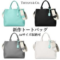 Tiffany & Co A4 2WAY Plain Leather Elegant Style Totes