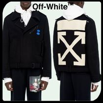Off-White Short Wool Street Style Bi-color Peacoats Coats