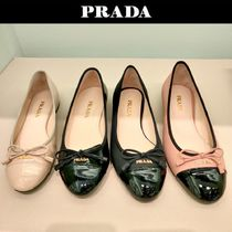 PRADA Plain Leather Elegant Style Flats