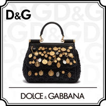 Dolce & Gabbana SICILY Casual Style Blended Fabrics 2WAY With Jewels Handbags