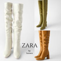ZARA Plain Leather Block Heels Elegant Style High Heel Boots