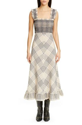 Other Plaid Patterns Tartan Casual Style Maxi Sleeveless