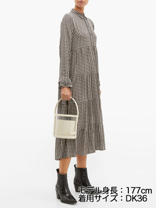 Gingham Casual Style Long Sleeves Long Shirt Dresses Tired