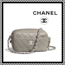 CHANEL Lambskin Chain Plain Logo Camera Bag Shoulder Bags