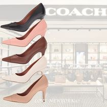 Coach Stripes Round Toe Leather Office Style Pumps & Mules
