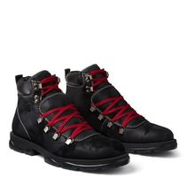 Jimmy Choo Plain Toe Mountain Boots Leather Shearling Logo