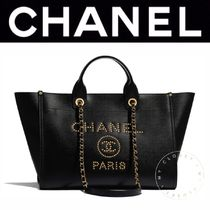 CHANEL DEAUVILLE Casual Style Calfskin Blended Fabrics Street Style A4 2WAY