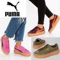 PUMA SUEDE Round Toe Rubber Sole Lace-up Casual Style Unisex Plain