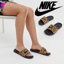 Nike Leopard Patterns Unisex Blended Fabrics Leather Shower Shoes