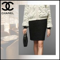 CHANEL Tweed Plain Medium Midi Skirts