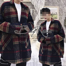 Other Check Patterns Street Style Oversized Trench Coats