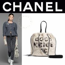 CHANEL DEAUVILLE Casual Style Fur Blended Fabrics Street Style 2WAY Chain