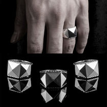 Unisex Studded Street Style Plain Silver Rings
