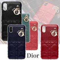 Christian Dior LADY DIOR Blended Fabrics Leather Smart Phone Cases