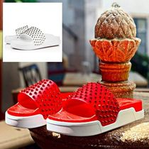 Christian Louboutin Blended Fabrics Studded Plain Leather Shower Shoes