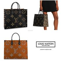 Louis Vuitton Monogram Leopard Patterns Leather Totes