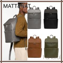 MATT&NAT Unisex Faux Fur A4 Plain Khaki Backpacks