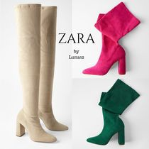ZARA Suede Plain Elegant Style Over-the-Knee Boots