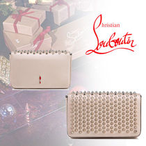 Christian Louboutin Blended Fabrics 2WAY Chain Party Style With Jewels Clutches