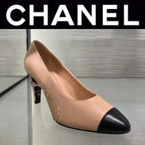CHANEL ICON Plain Toe Blended Fabrics Street Style Bi-color Leather